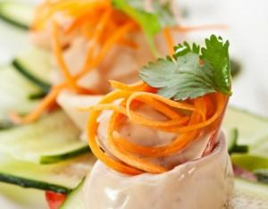 Calamari saltati con  crudité di verdure