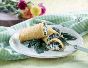 Cannoli di mais con spinaci, caprino e noci