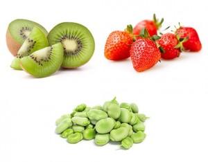 Fave, fragole e kiwi