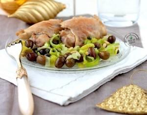 Sovracosce di pollo con porri, olive taggiasche e pinoli