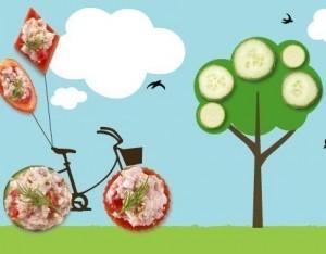Tartine di verdure e spigola