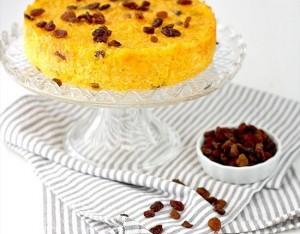 Torta di riso Basmati, uvetta e zafferano