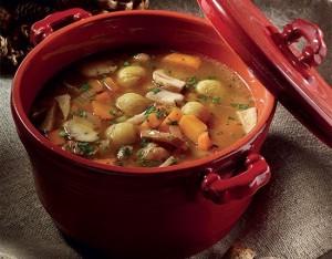 Zuppa di castagne, funghi porcini e zucca