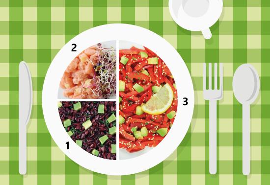 Piatto unico: peperoni rossi con avocado, tartare di salmone e riso Venere