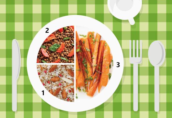 Piatto unico: carote al vapore, riso integrale, lenticchie