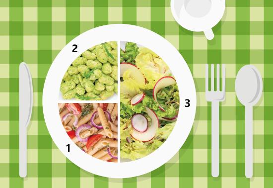 Piatto unico: insalata di lattuga, mela e ravanelli, penne integrali, fagioli