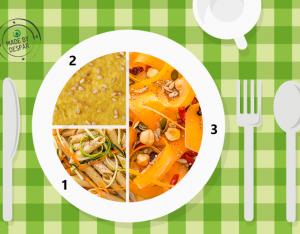 Piatto unico: carote con frutta secca, penne integrali e hummus di ceci