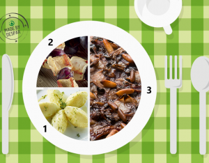 Piatto unico: radicchio saltato, patate al timo e lime, spiedini di pollo e uva nera