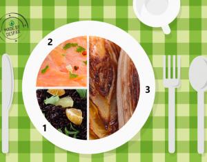 Piatto unico: indivia al forno, riso Venere, carpaccio di salmone