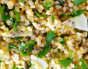 Miglio con rucola, cetrioli e semi di chia