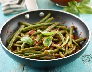 Fagiolini stufati al pomodoro e basilico