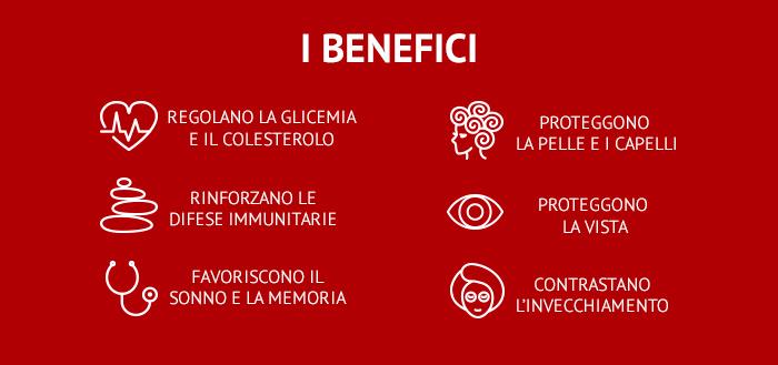 Infografica sui 6 benefici delle bacche di Goji