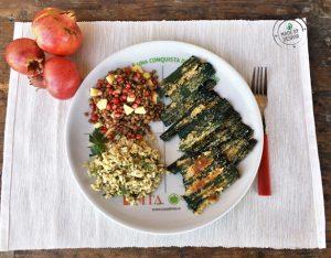 Piatto unico: cardi gratinati, lenticchie con melagrana, riso integrale