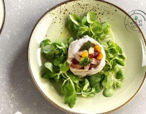 Pagello con verdure autunnali croccanti