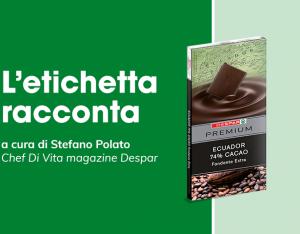L'etichetta racconta: tavoletta di cioccolato fondente extra Ecuador 74% Despar Premium