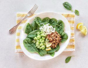 Insalata di lenticchie, spinaci, sedano e cipollotto al limone
